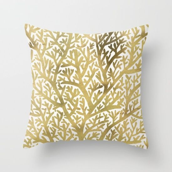 Gold Fan Coral Throw Pillow by Cat Coquillette | Society6