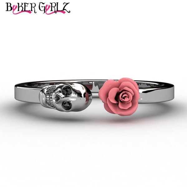 Skull Rose Women's Skull Ring Ladies stainless steel skull rose ring, available in six colors. High polish finish with colorful flower