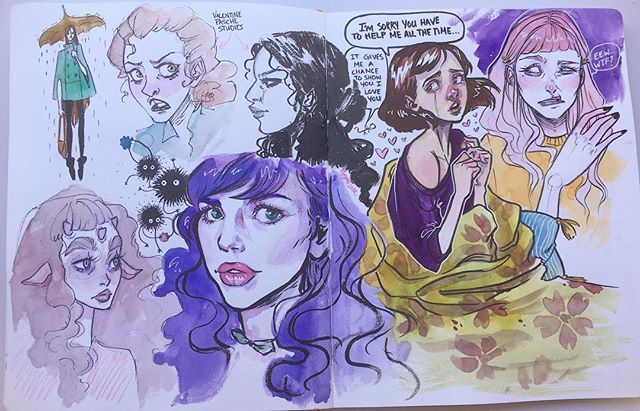 Sketchbook studies. Trying to get better at expressions. I did a couple quick @valentinepasche studies cause her work is amazing, drew @meganlaraart and some other bits. I have a sale going on right now for those of you that didn't see it read my last post. ✨ #art #artist #myart #artwork #painting #sketch #sketchbook #artsale #sale #audraauclair #comic #illustration