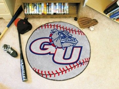 Gonzaga Zags/Bulldogs Baseball Shaped Area Rug Welcome/Door/Bath Mat