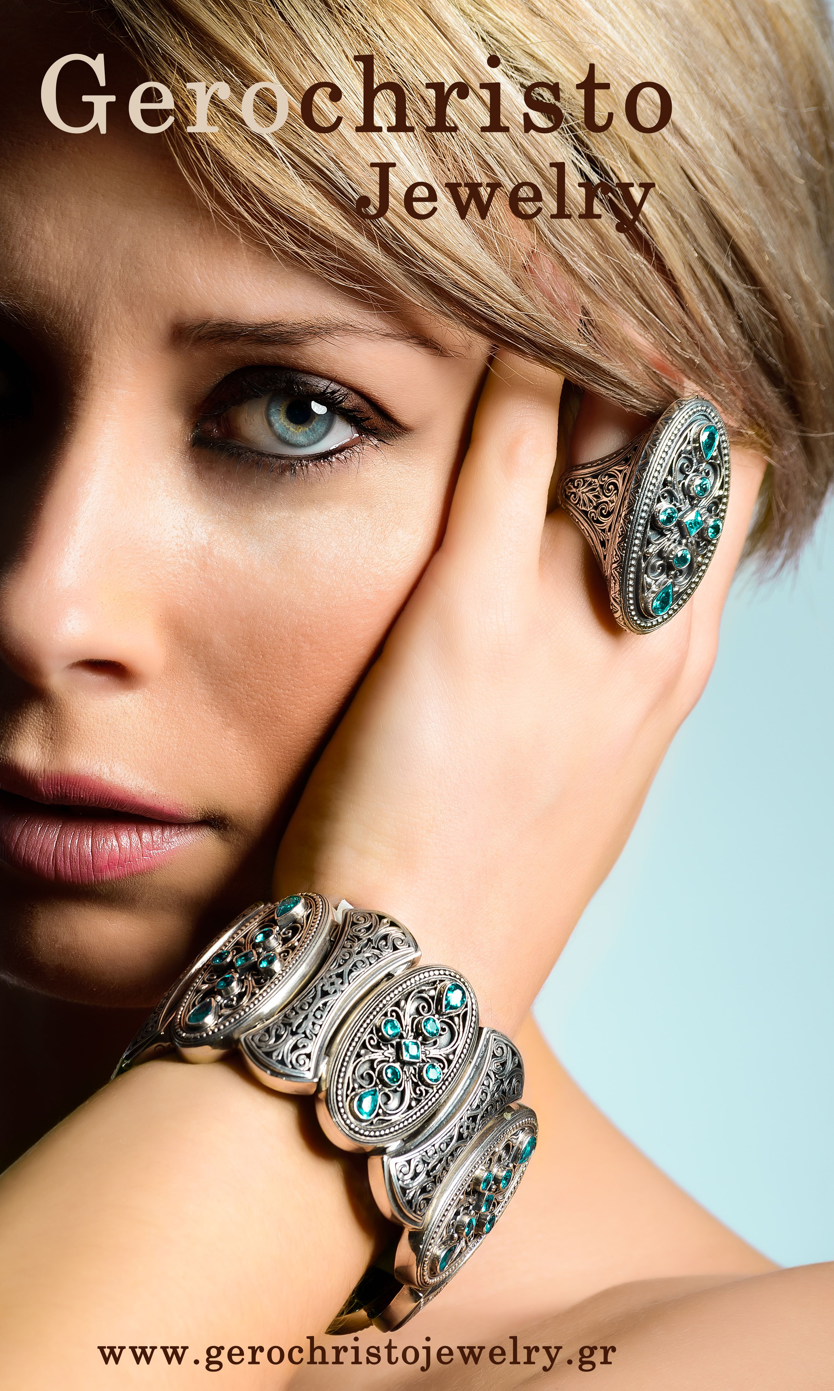 Bracelet and ring in sterling silver with Blue topaz stones #Bluetopaz #luxuryjewelry #Greekdesigner