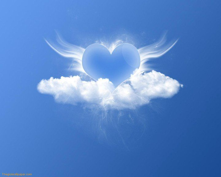 Pin By Beth Heckman On Just Love Hearts Peace Heart With Wings Clouds Heart Wallpaper