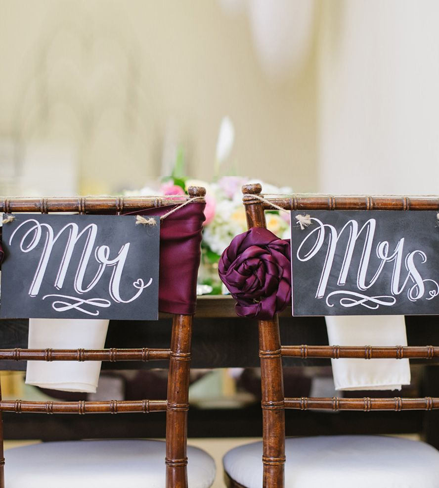 Mr. & Mrs. Wedding Chair Signs by Lily & Val on Scoutmob | Wedding ...