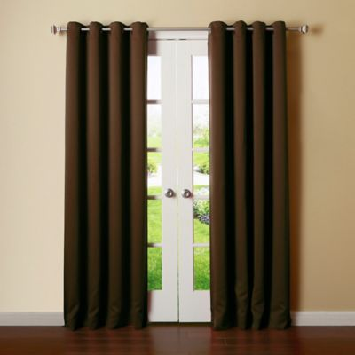 Decorinnovation Basic Solid 63 Room Darkening Grommet Window Curtain Panel Pair In Chocolate Thermal Curtains Insulated Blackout Curtains