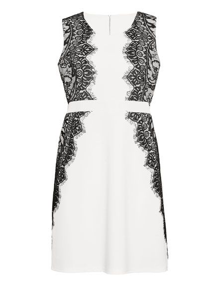 Etui-Kleid, weiß mit schwarzer Spitze in 2019 | Elegantes ...