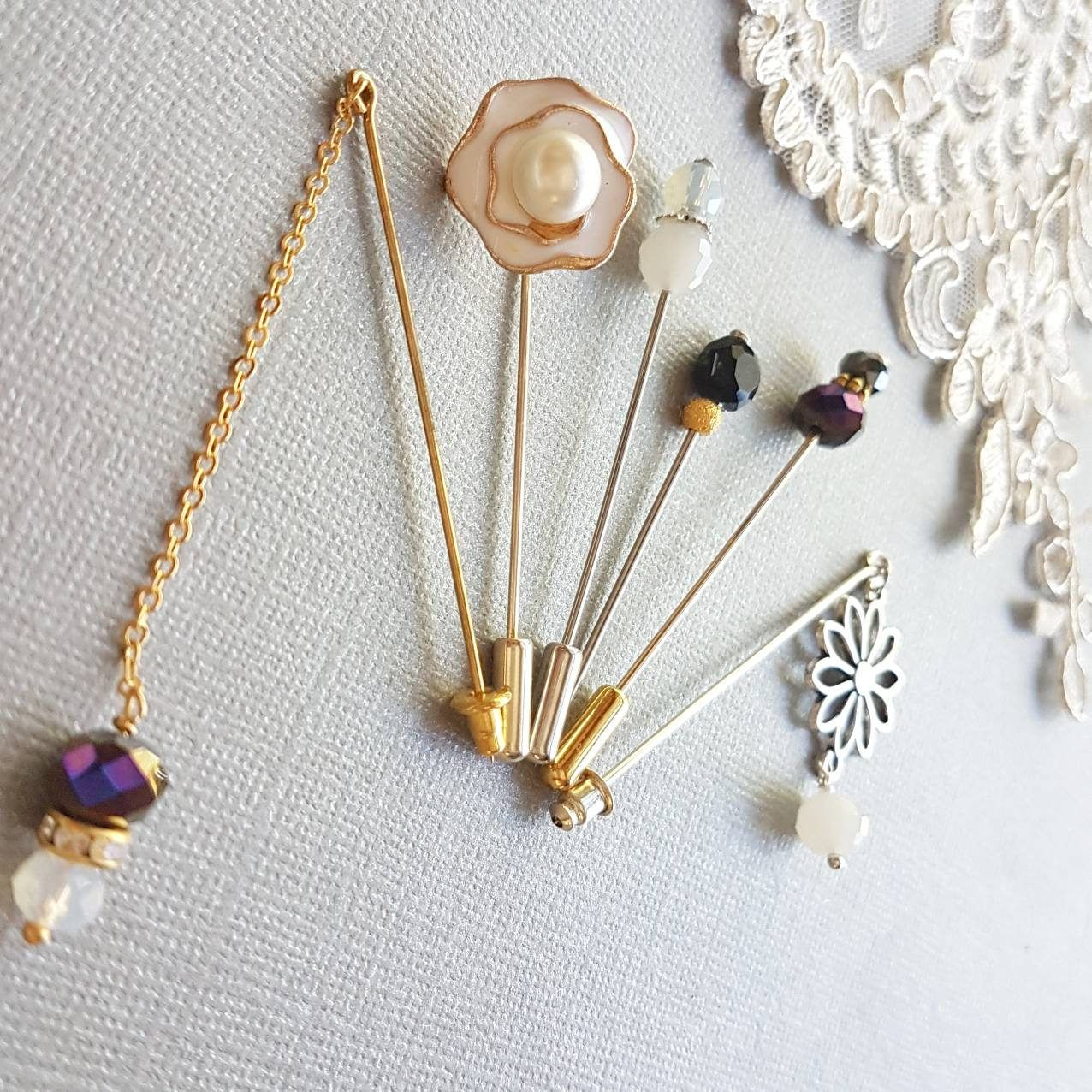 Fall In Love With These Beautiful Hand Crafted Black U0026 White Hijab Pin Sets.  A Gorgeous Collection Of 6 Handmade Hijab Pins In Black And White.