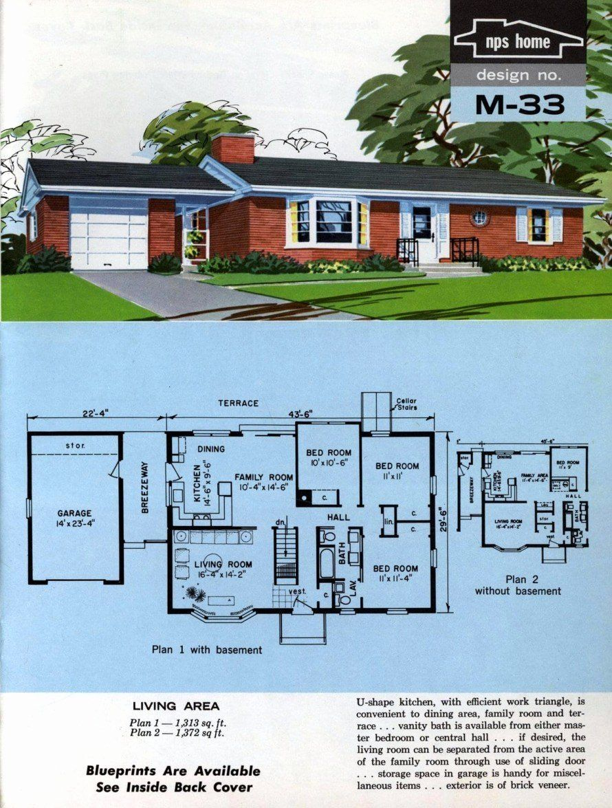 1970 Ranch House Plans Unique See 125 Vintage 60s Home Plans Used To Design Build In 2020 Ranch House Plans House Plans Vintage House Plans