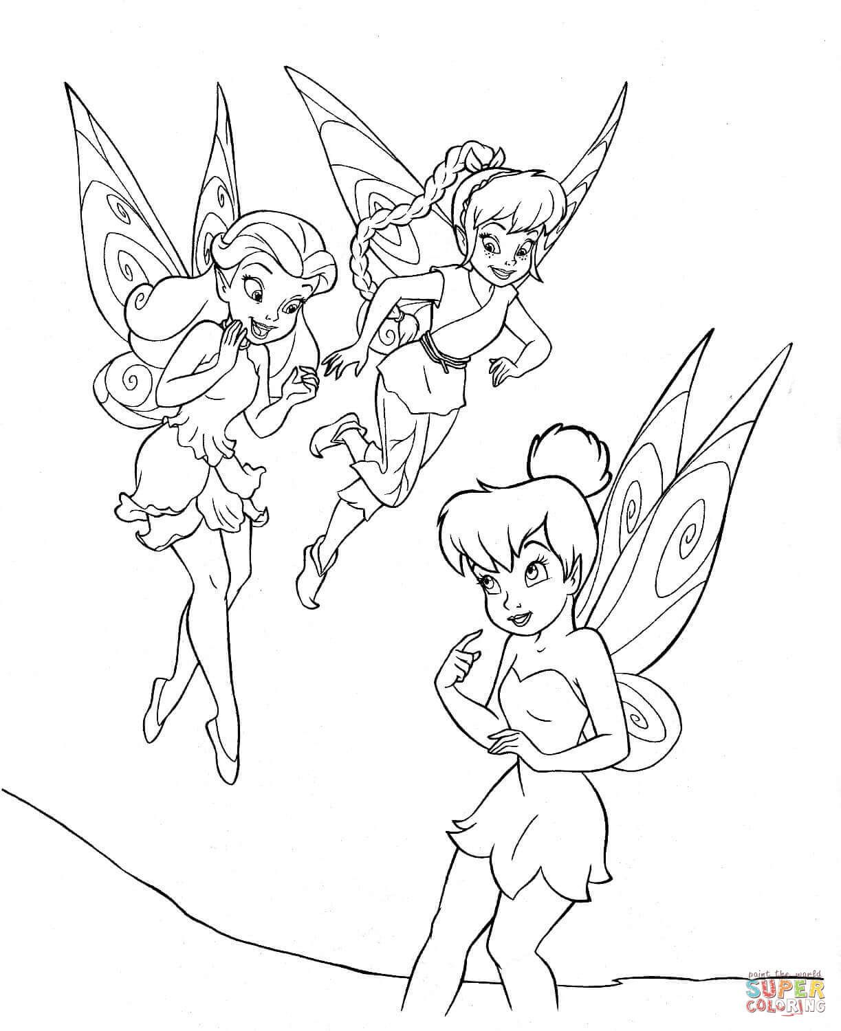 Tinkerbell black and white tinkerbell with friends coloring page ...
