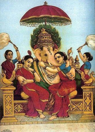 Ganesha with conserts Riddi & Siddi (Painting by Raja Ravi
