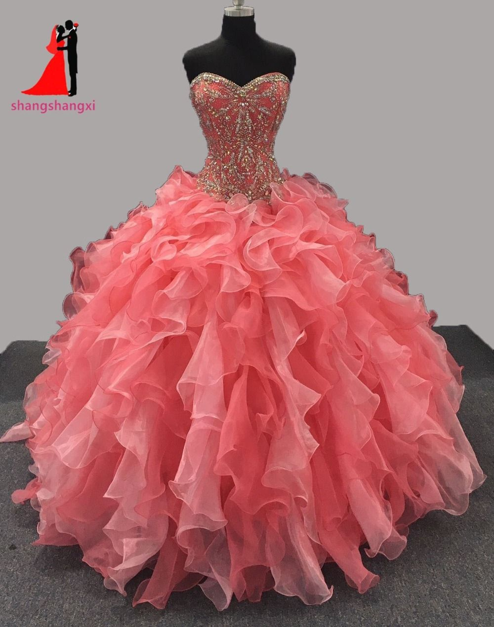 8c119f111aba2 New Coral Quinceanera Dresses Ball Gown Rhinestone Beads Organza Ruffles  Sweet 16 Dresses Long Prom Gown