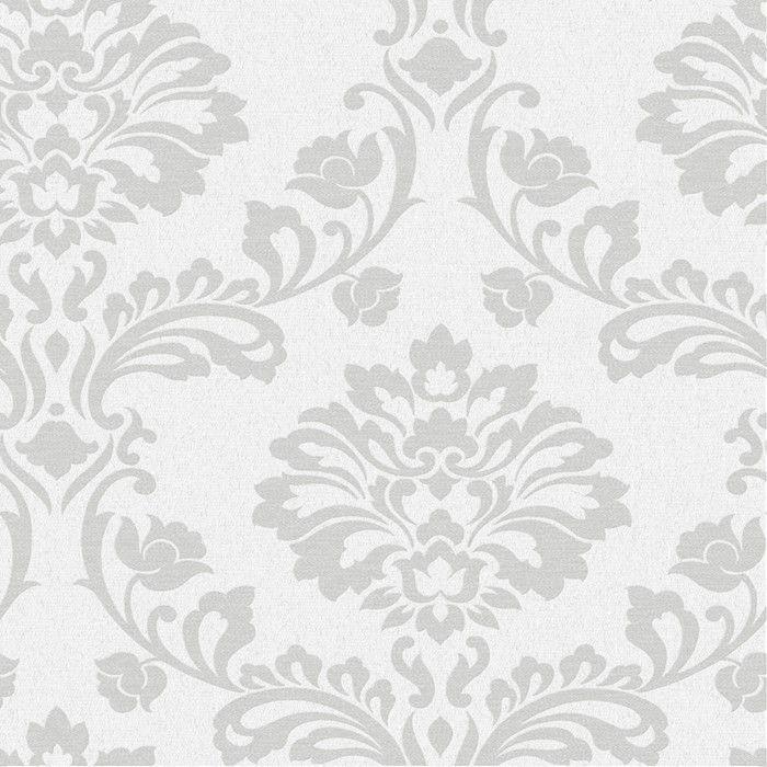 Aurora Regal 33 X 20 Damask 3d Embossed Wallpaper Roll Damask Wallpaper White And Silver Wallpaper Silver Wallpaper
