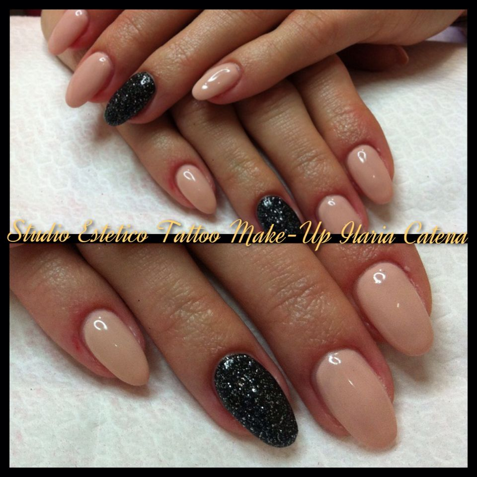 Nude rose and black glittering