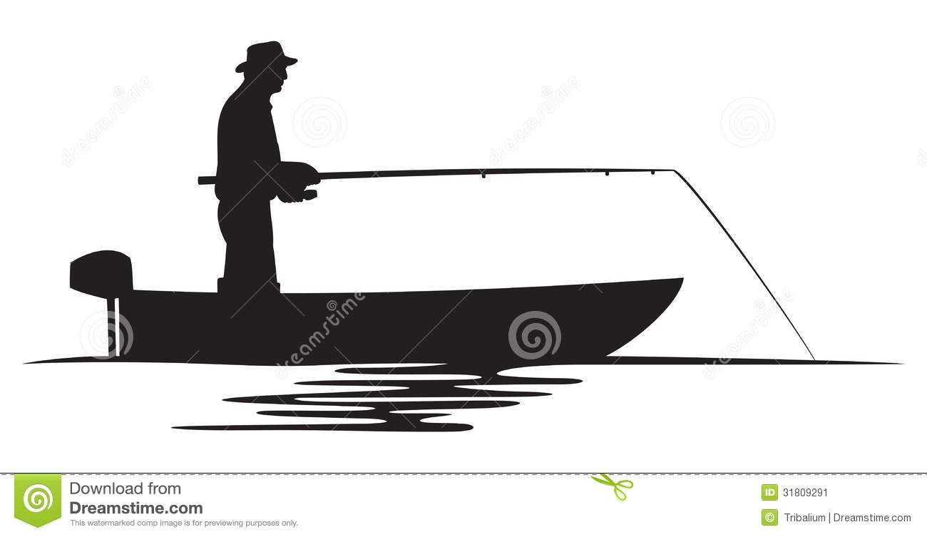 Stock Image Fisherman In A Boat Silhouette