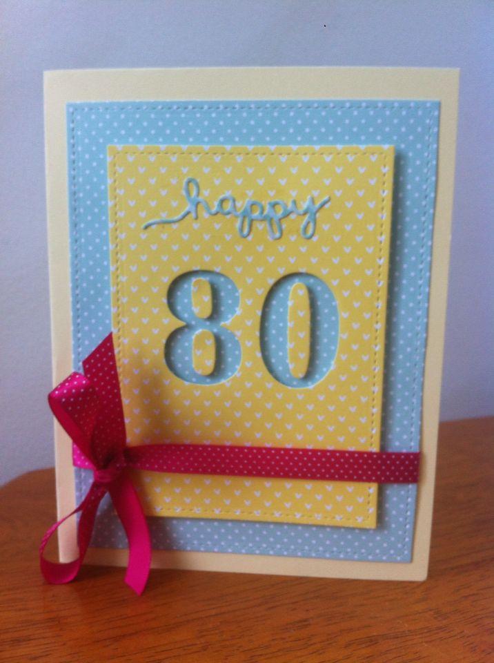 Simple 80th Birthday Card Cards Pinterest 80th Birthday Cards