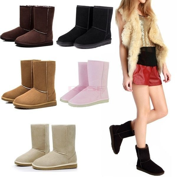Winter Women Lady Warm Faux Suede Fur Lined Mid-calf Snow Flat Boots Shoes Women's shoes
