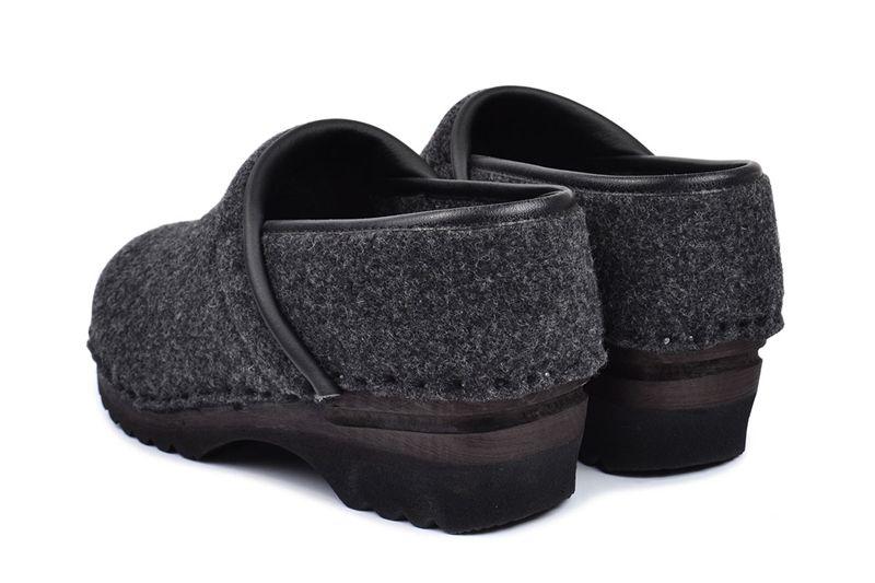 f2dc5ec32f0d Closed Back Clog Shoe in Grey Wool Felt