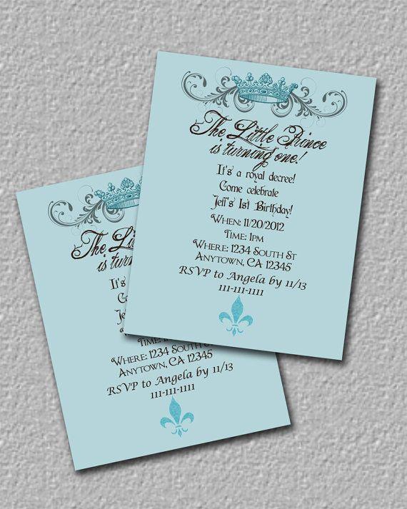 Royal Blue Prince Birthday Boy Invitations set of 16 by mimsysnest - birthday invitation wording no gifts donation