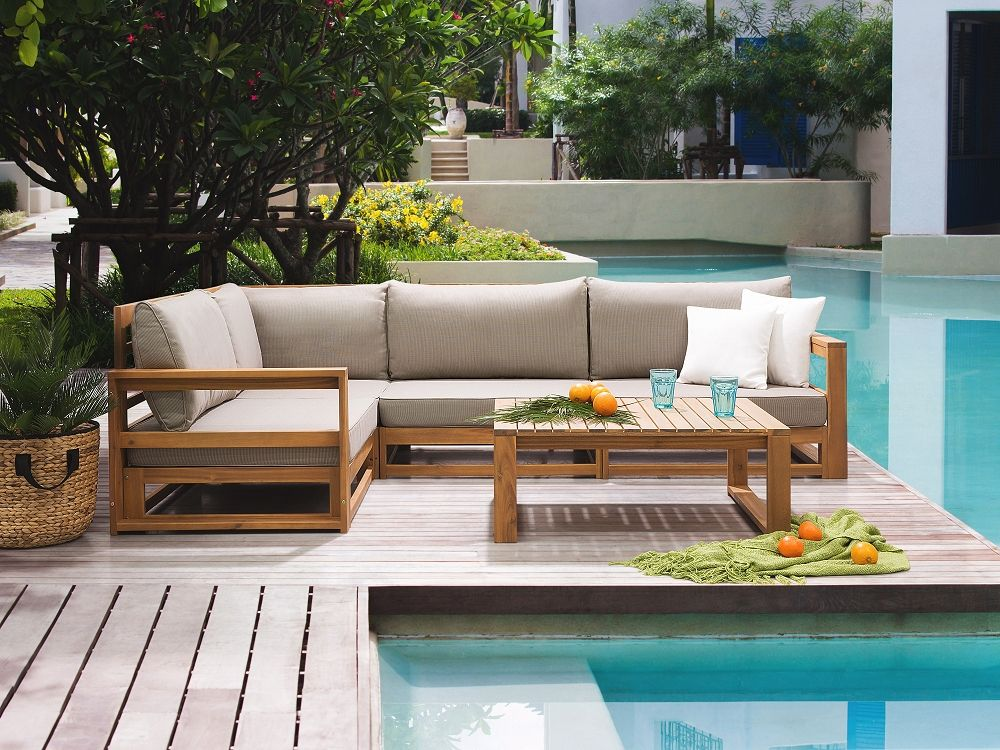 Lounge Set Holz braun 4-Sitzer Auflagen grau TIMOR | Kitchens