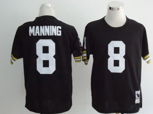 new concept 5c2a4 a4a48 New Orleans Saints #8 Archie Manning Black Throwback Jersey ...