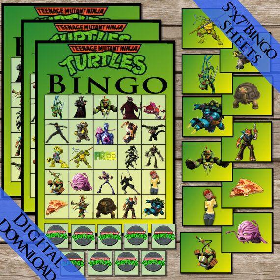 Ninja Turtles Bingo Digital Download Ninja Turtle Bingo Birthday