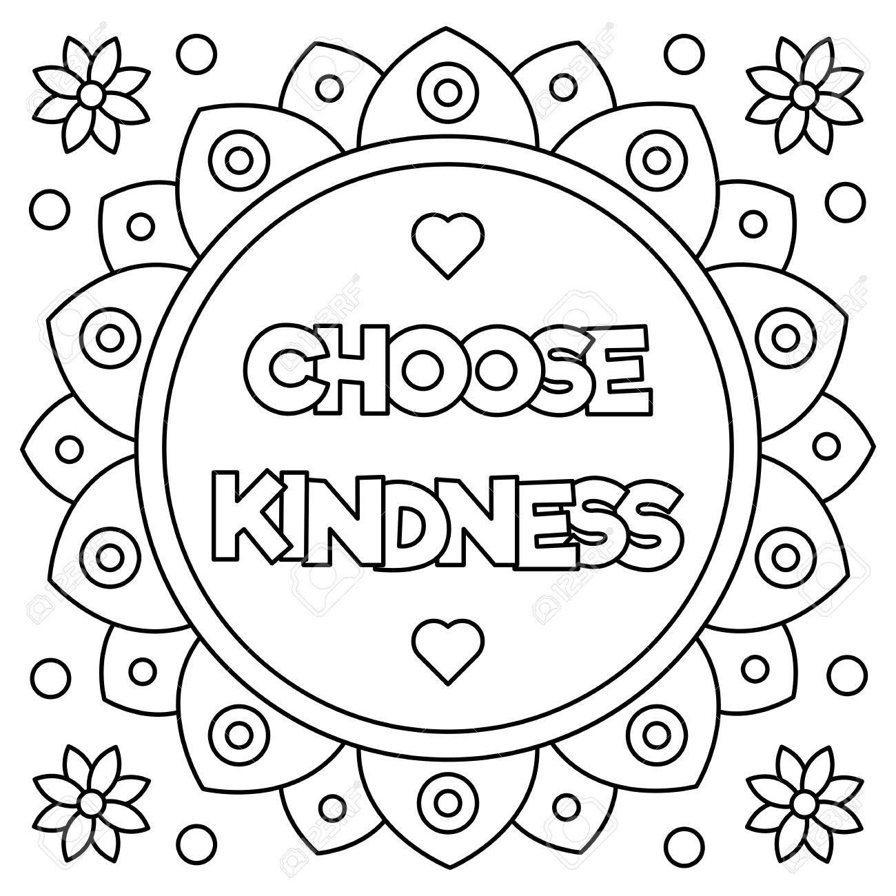 Choose Kindness Coloring Page Vector Illustration Printable Coloring Pages Love Coloring Pages Free Printable Coloring Pages