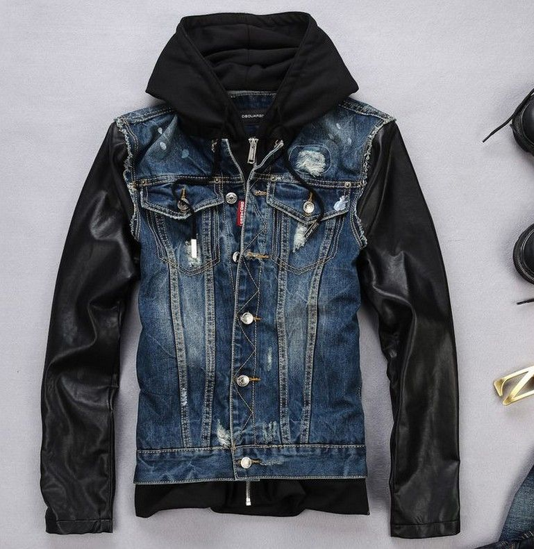 Y&R Men Stylish Distressed Denim Hoodie Jacket Faux Leather ...
