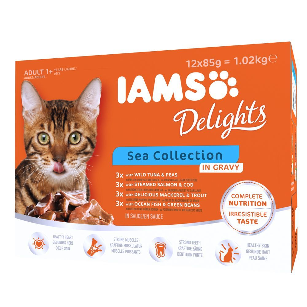 48 x 85g iams delights wet cat food pouches 36 12 free