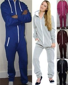 7d497a2ab30e ADULT MENS WOMENS HOODED ALL IN ONE PIECE ONESIE JUMPSUIT TRACKSUIT SIZE  S-XL