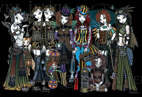 Steampunk Circus Fairies Sideshow Signed 13x19 Print Myka Jelina