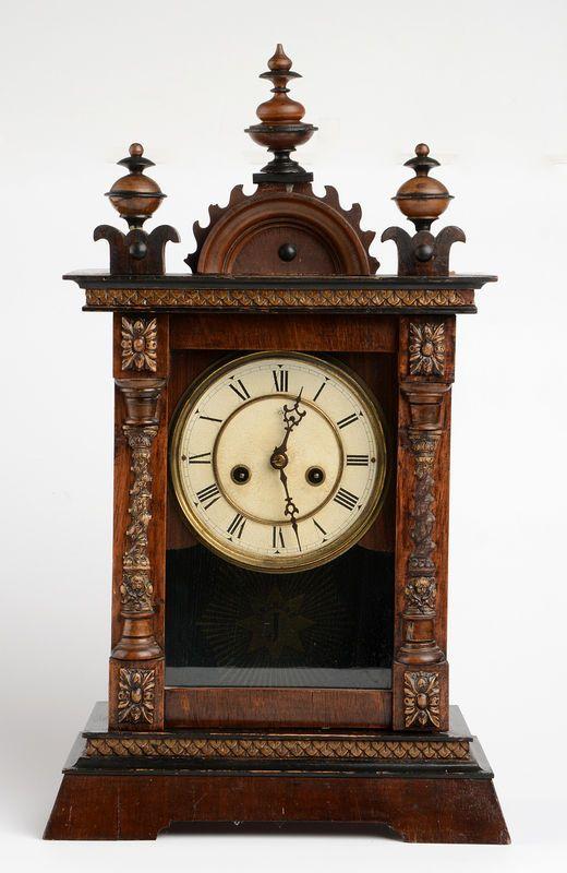 Antique German 1900 1910 Junghans Mantel Clock Wood Decorated