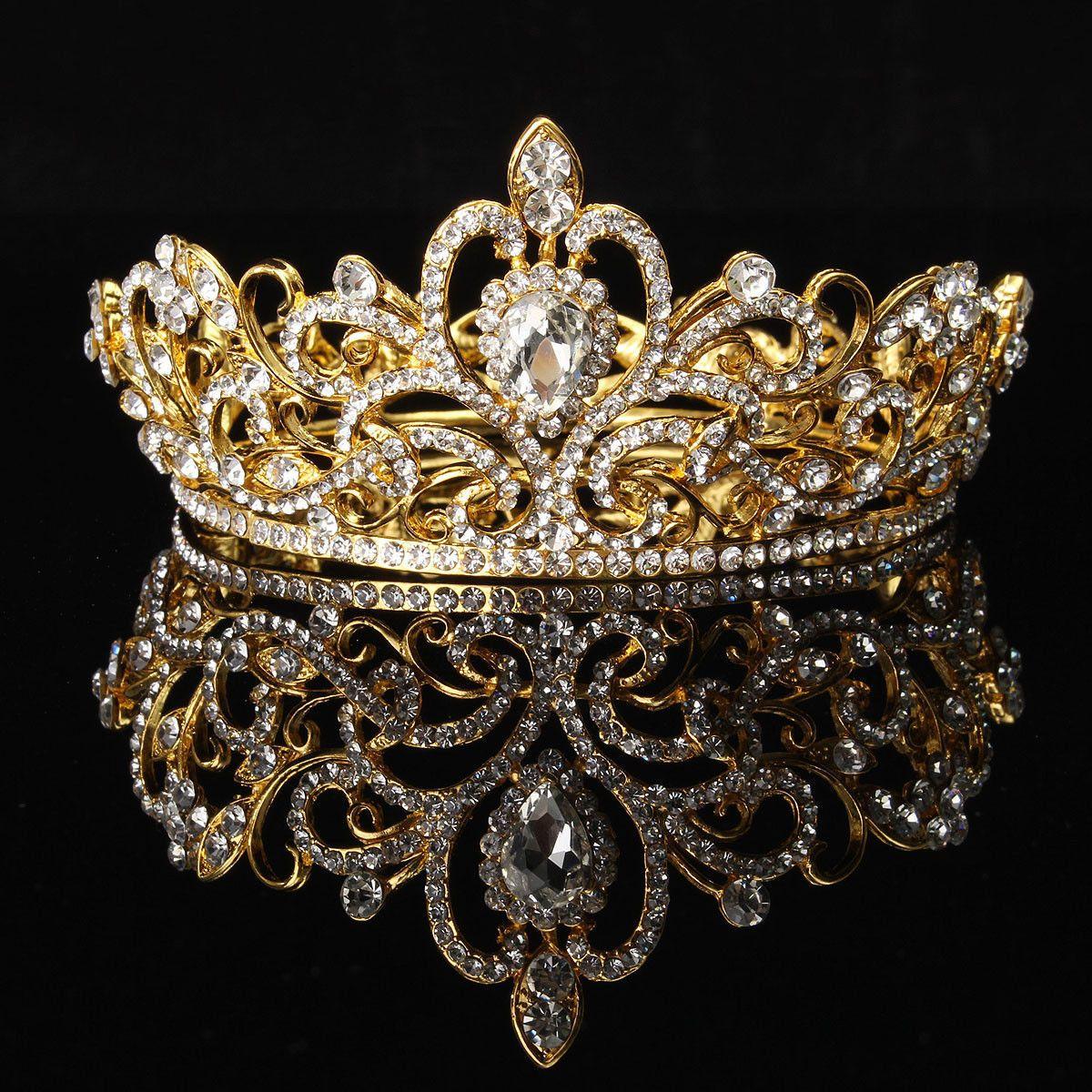 Bride Gold Silver Rhinestone Crystal Crown Tiara Head Jewelry Princess  Wedding 1b57b771b022