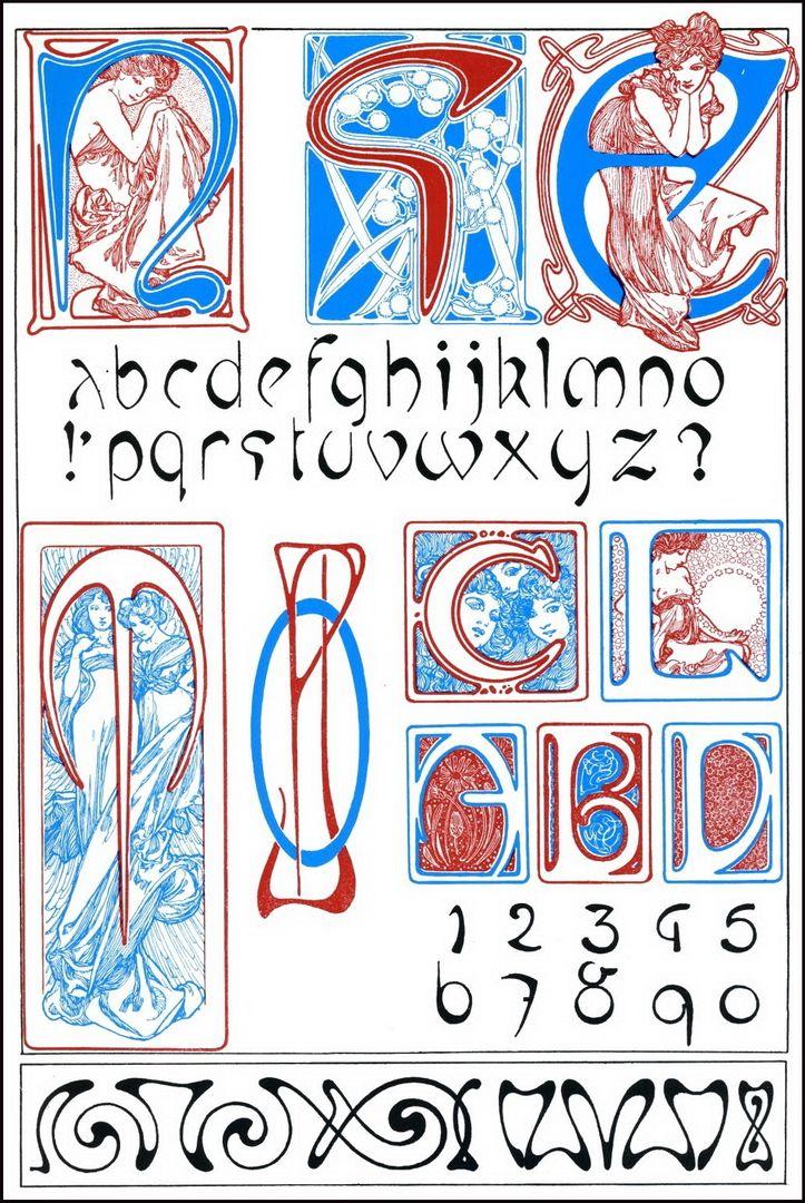 Alphonse Mucha Alphabet & Numbers