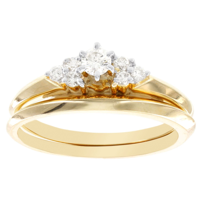 H Star 14k Yellow Gold 1/4ct TDW Diamond Bridal Set (I-J, I2-I3) (Size 5.5), Women's