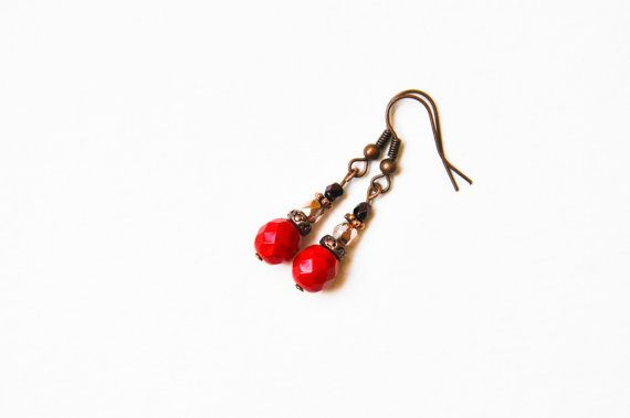 Glass beaded earrings. Red antique brass by twocatsboutique, $8.00