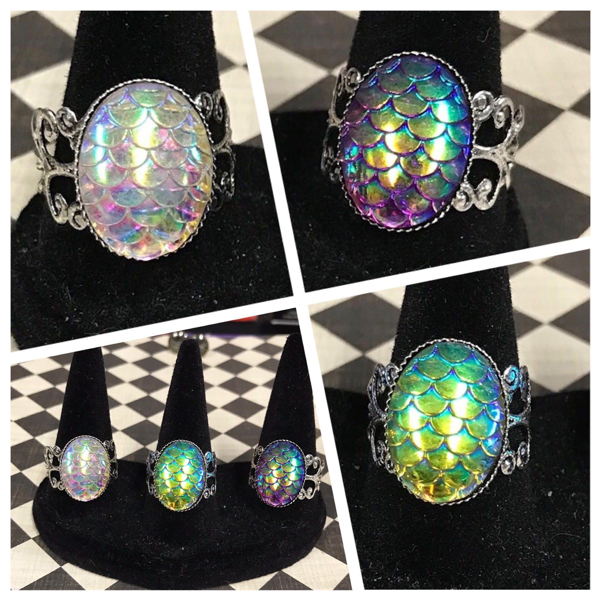 Silver Mermaid Scale Ring AB Color Changing Dragon Egg Naga ...