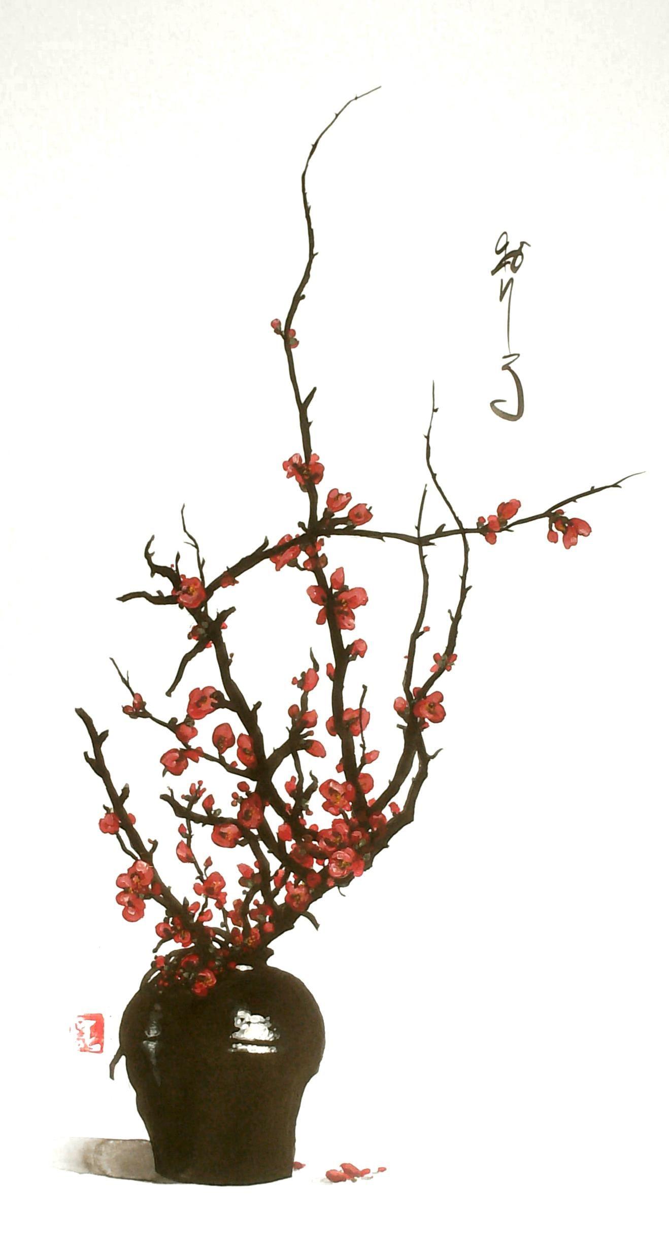 Pingl par hoshi iku sur peinture chinoise peinture - Dessin fleur de cerisier ...