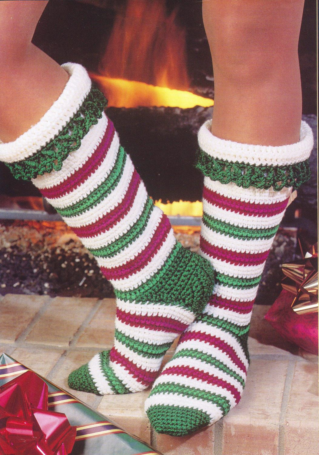 Crochet Socks Pattern - Candy Cane Stockings Crochet Pattern Holiday Christmas Socks Women Girls - PDF Download by SassyloveCrochet on Etsy