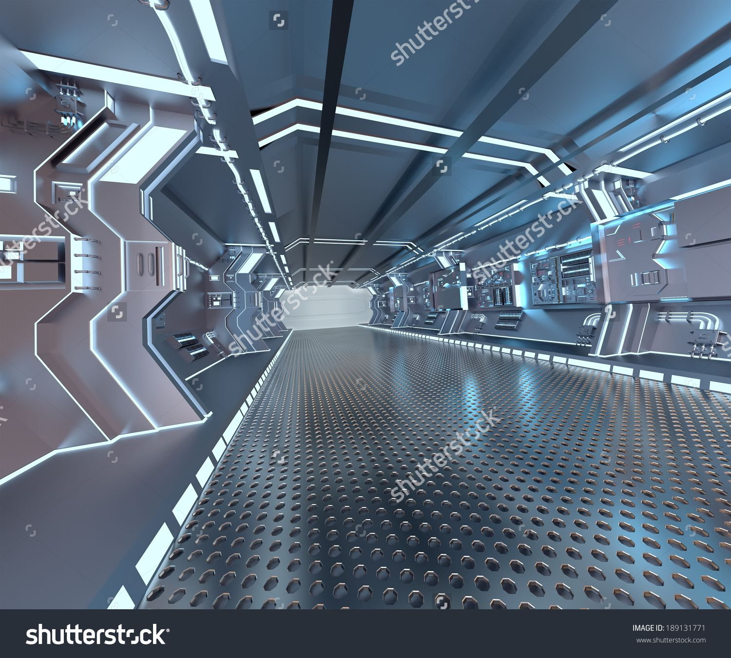 Futuristic design spaceship interior with metal floor and for Concept of space in architecture