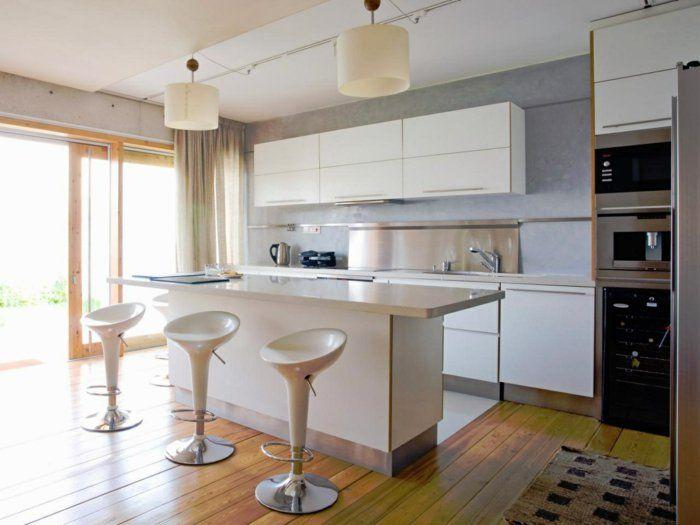 Möbel für küche  wände streichen ideen küche hellgraue wandfarbe kücheninsel ...