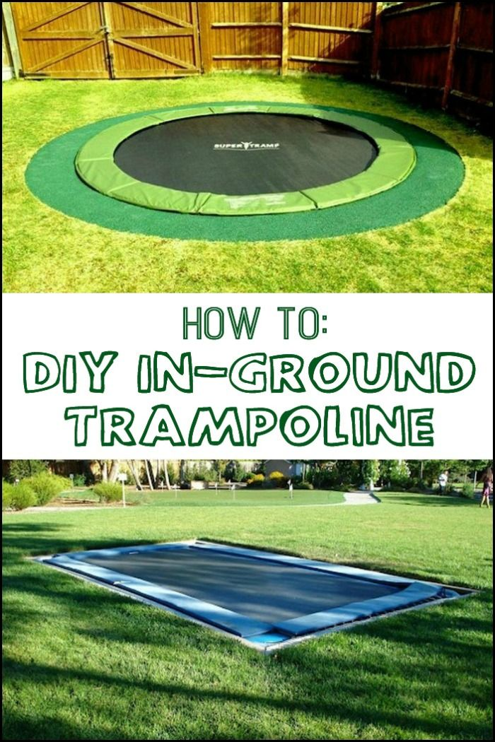 Diy Inground Trampoline Large Backyard Landscaping Backyard Trampoline Backyard Playground