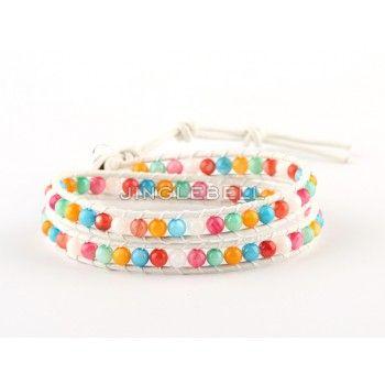 Mixed Bright Semi Precious Stone 2 Wrap Bracelet on White Leather Chanluu Style