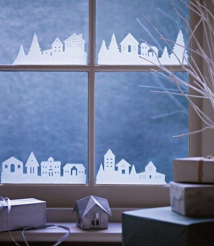 Fensterbilder zu Weihnachten - Dorf aus Transparentpapier ...