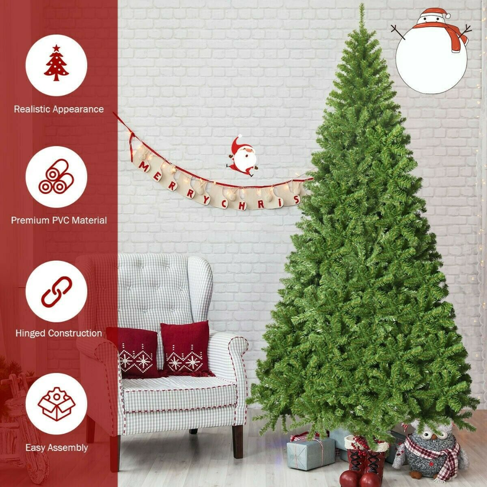 Christmas Tree Prices 2020 Real Green 9 Foot Eye Catching Unlit Hinged PVC Artificial Christmas