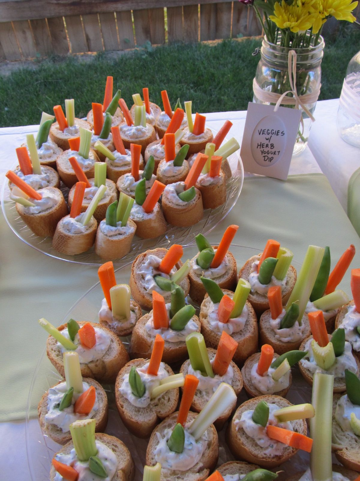Sauce on the Wall baby shower food crudite in baguette cups