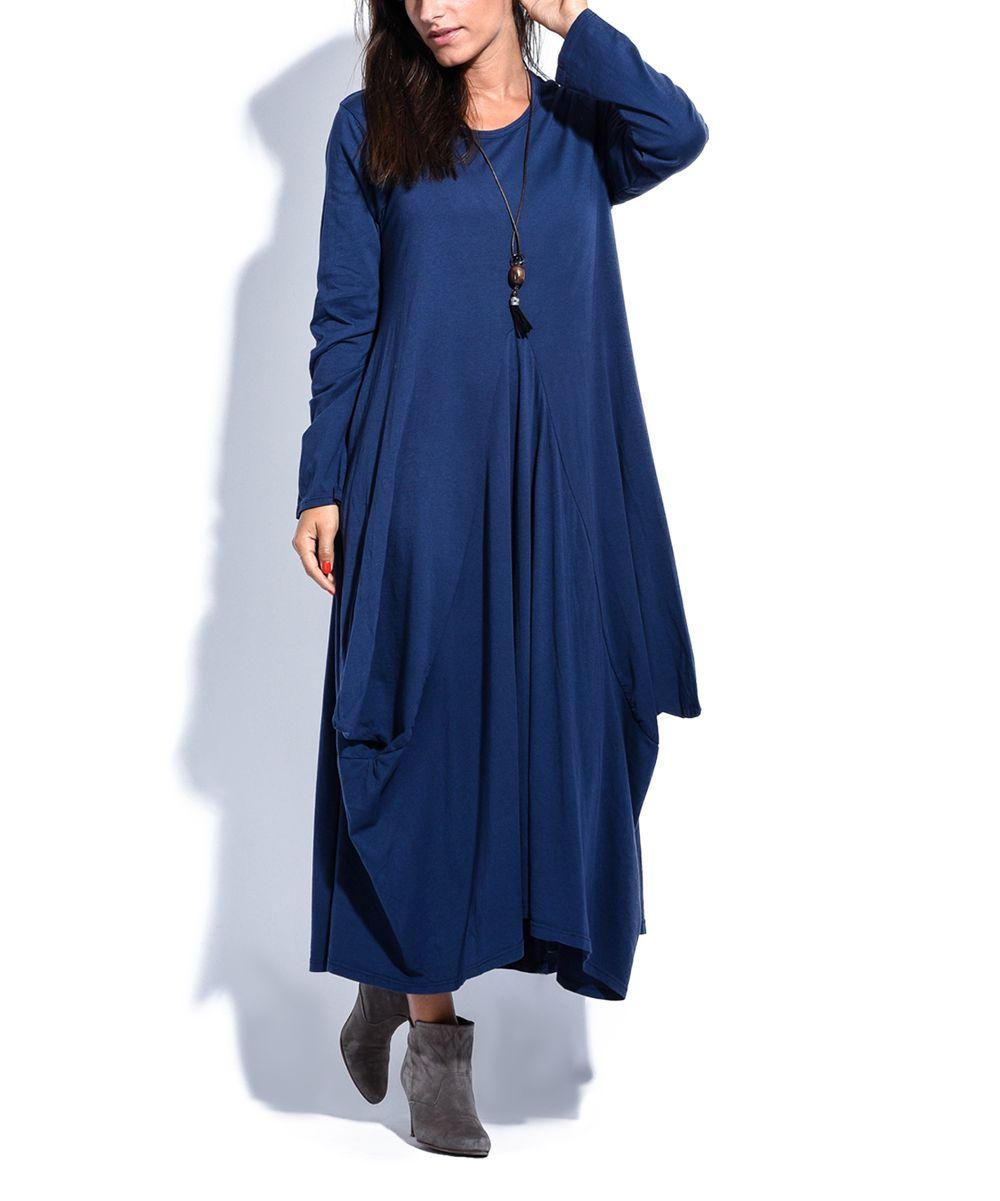 Navy blue pleat longsleeve maxi dress plus too products