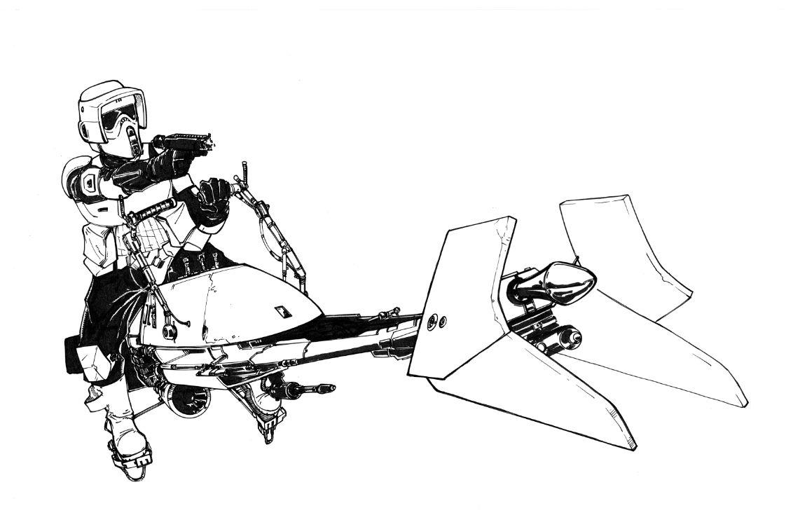 Biker Scout Comic Art Star Wars Drawings Star Wars Art Comic Art