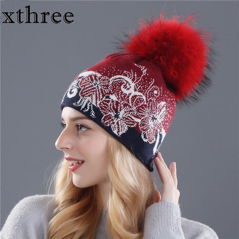3c1b9769708c7 Xthree Winter Beanies Wool Knitting Hat For Women Real Mink Fur Pom Po –  FuzWeb