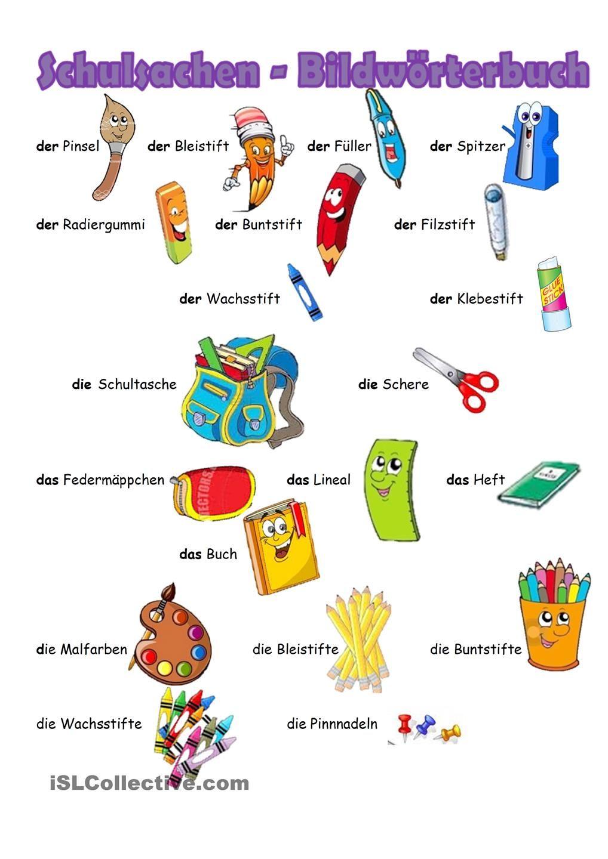 Bildworterbuch Schulsachen | German, Learn german and Language