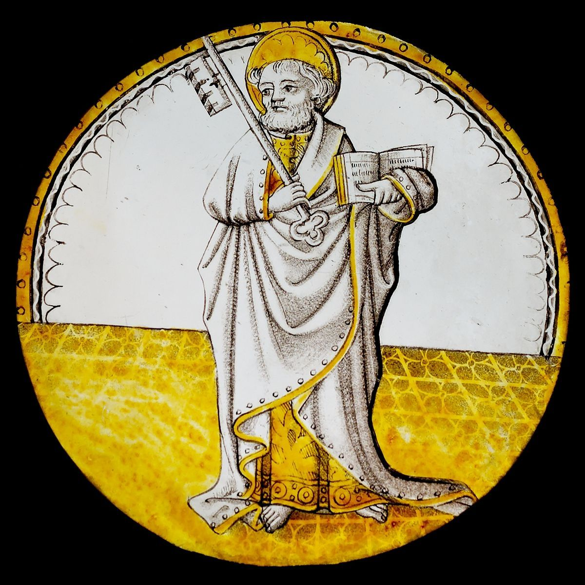 Window of St. Peter: Stained glass (white glass, grisaille and silver sulfide) and lead, France, ca. 1500–1510