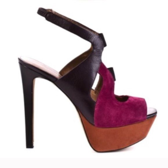 """HP! Jessica Simpson Colorblock Platform Sandal Gorgeous brand new, never worn, Jessica Simpson high heel sandals! Leather & suede shoe in purple, fuchsia, and dark orange color block. Slingback strap has elastic for easy on/off. Heel measures approx. 5 1/4"""" with a 1 1/2"""" platform. Jessica Simpson shoes are known for their comfort! No box. No trades. Open to offers! Thanks! 4/7 Best In Shoes Host Pick! Jessica Simpson Shoes Platforms"""